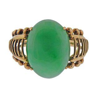 Retro 14K Gold Jade Ring
