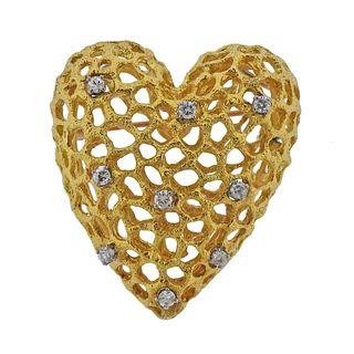 1970s 18K Gold Diamond Heart Slide Pendant Brooch