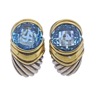 David Yurman Sterling Silver 14K Gold Blue Topaz Earrings