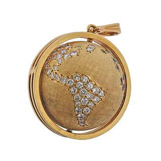 14K Gold Diamond Sapphire Emerald Ruby Globe Charm