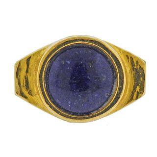 18K Gold Lapis Ring