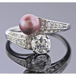 Art Deco Platinum Diamond Pearl Ring