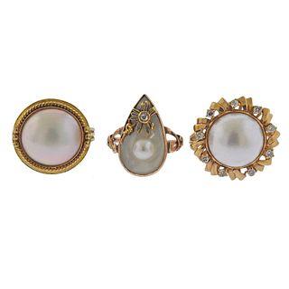 Lot of 14k 18k Gold Pearl Diamond Rings