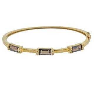 14k Gold Topaz Diamond Bangle Bracelet