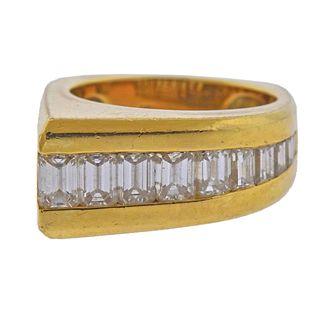 18k Gold Emerald Cut Diamond Ring