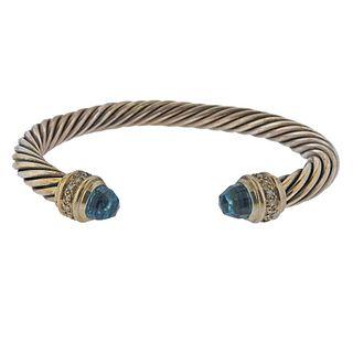 David Yurman Sterling Silver Diamond Blue Topaz Cable Bracelet