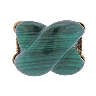 14k Gold Malachite Ring