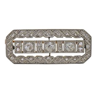 Art Deco 18k Gold Platinum Diamond Brooch Pin