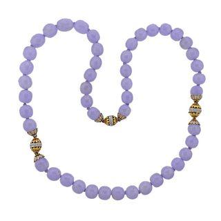 18k Gold Diamond Lavender Jade Bead Necklace