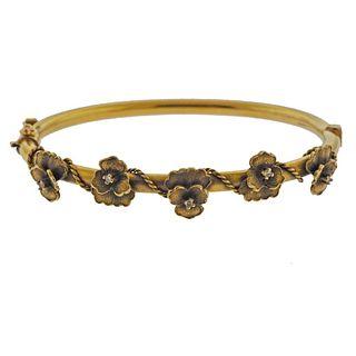 Antique 14k Gold Diamond Pansy Flower Bracelet