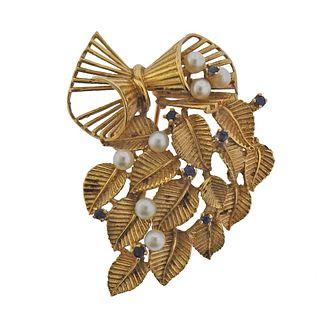 Mid Century 14k Gold Sapphire Pearl Brooch Pin