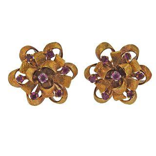 1970's 14k Gold Ruby Earrings