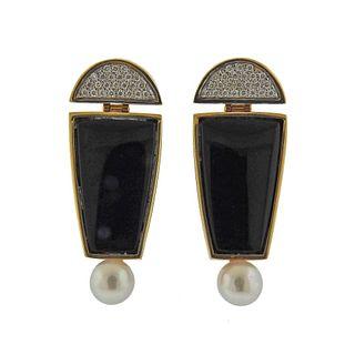 14k Gold Modernist Diamond Onyx Pearl Earrings