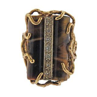 1970's Tigers Eye Diamond 14k Gold Ring