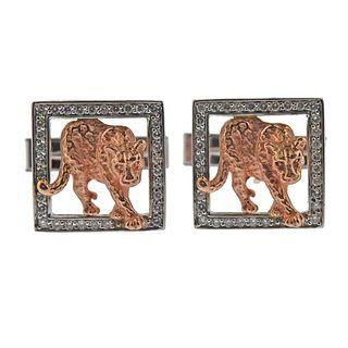 Effy 14k Gold Diamond Panther Cufflinks
