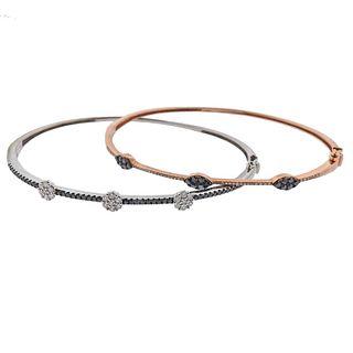 Set of Two 14k Gold Diamond Bracelets