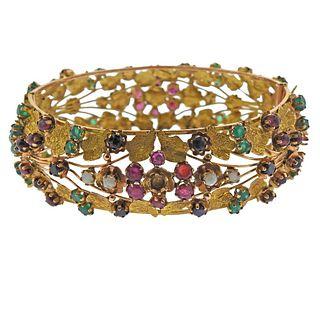 14k Gold Multi Gemstone Bracelet