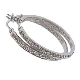 14K Gold Inside Out Diamond Hoop Earrings