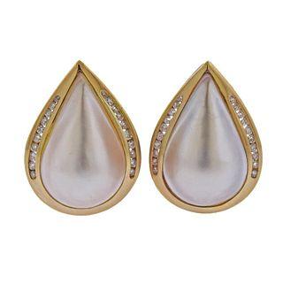 14K Gold Diamond Mother of Pearl Earrings