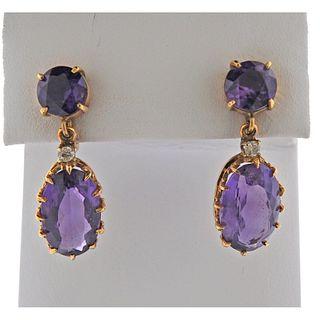 14K Gold Diamond Amethyst Drop Earrings