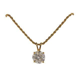Italian 14K Gold Diamond Pendant Necklace