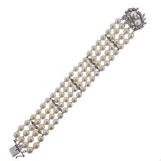 14K Gold Diamond Pearl Multi Strand Bracelet