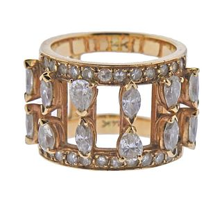 14K Gold Diamond Double Band Ring