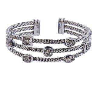 David Yurman Sterling Silver Diamond Confetti Cuff Bracelet