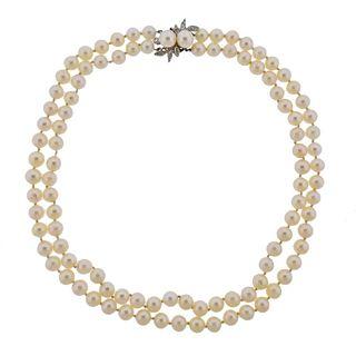 Mid Century 14K Gold Diamond Pearl Double Strand Necklace
