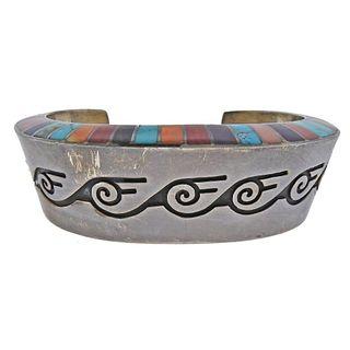 Native American Lonn Parker Navajo Gemstone Inlay Silver Cuff Bracelet