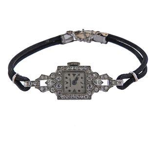 Art Deco Chalet Platinum Diamond Lady's Watch