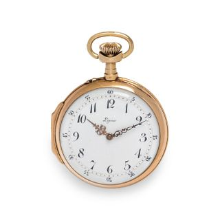 LEPINE, 18K YELLOW GOLD OPEN FACE POCKET WATCH