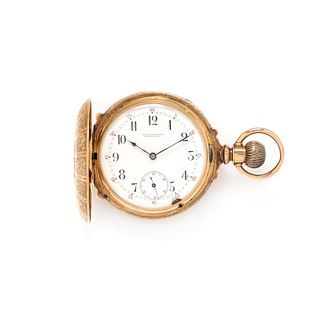 CALHOUN, 14K PINK GOLD HUNTER CASE POCKET WATCH