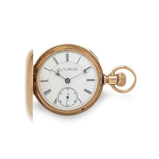 ELGIN, 14K YELLOW GOLD HUNTER CASE POCKET WATCH