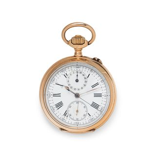 18K PINK GOLD CHRONOGRAPH OPEN FACE POCKET WATCH