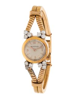 JAEGER-LeCOULTRE, 18K YELLOW GOLD AND DIAMOND WRISTWATCH