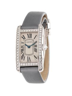CARTIER, 18K WHITE GOLD AND DIAMOND REF. 2489 'TANK AMERICAINE' WRISTWACH