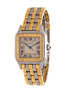 CARTIER, STAINLESS STEEL AND YELLOW GOLD REF. 187949 'PANTHERE' WRISTWATCH