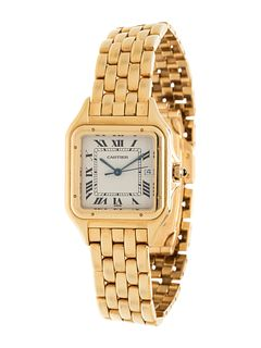 CARTIER, 18K YELLOW GOLD 'PANTHERE' WRISTWATCH