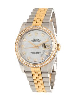 ROLEX, STAINLESS STEEL, YELLOW GOLD AND DIAMOND REF. 116233 'OYSTER PERPETUAL DATEJUST' WRISTWATCH