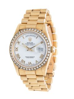 ROLEX, 18K YELLOW GOLD AND DIAMOND REF. 18238 'OYSTER PERPETUAL DAY-DATE' WRISTWATCH, CIRCA 1995