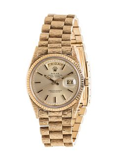 ROLEX, 18K YELLOW GOLD REF. 1803 'OYSTER PERPETUAL DAY-DATE' WRISTWATCH, CIRCA 1969