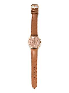 VINTAGE, 18K PINK GOLD DAY DATE CHRONOGRAPH WRISTWATCH