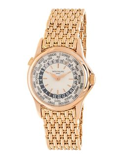 PATEK PHILIPPE, 18K PINK GOLD REF. 5110R-001 'WORLDTIME' WRISTWATCH