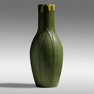 Ellen Farrington for Grueby Faience Company, Rare and Tall vase with lilies