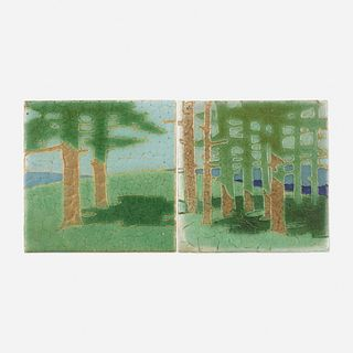 Addison LeBoutillier for Grueby Faience Company, The Pines tiles, set of two