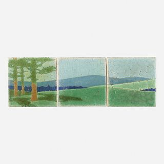 Addison LeBoutillier for Grueby Faience Company, The Pines tiles, set of three