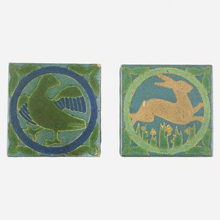 Grueby Faience Company, Rare trivet tiles with duck and rabbit