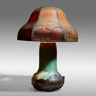 Eliza C. Lawrence for Rookwood Pottery, Rare and Important Modeled Mat lamp