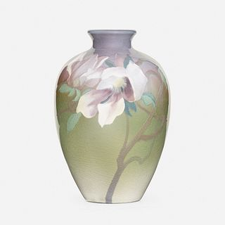 John Dee Wareham for Rookwood Pottery, Iris Glaze vase with magnolias